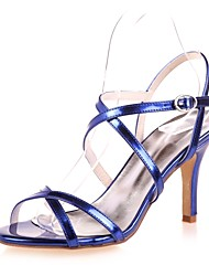 cheap -Women's Shoes Patent Leather Spring Summer Basic Pump Sandals Stiletto Heel Open Toe for Dress Party & Evening Gold Silver Blue