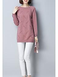 Standard Cardigan Da donna-Casual Semplice Tinta unita Rotonda Manica lunga Cashmere Inverno Medio spessore Anelastico