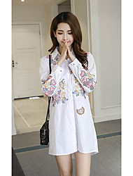 cheap -Women's Daily Shirt Dress,Embroidered Shirt Collar Above Knee Long Sleeve Cotton Fall Mid Rise Micro-elastic Thin