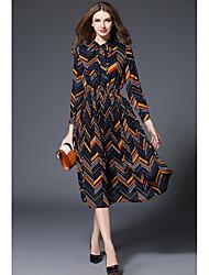cheap -Women's Daily Chiffon Dress,Geometric Crew Neck Midi Long Sleeves Polyester Mid Rise Micro-elastic Medium