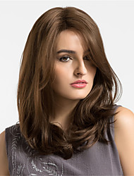 cheap -Synthetic Wig Natural Wave Brown Women's Capless Natural Wigs Medium Synthetic Hair