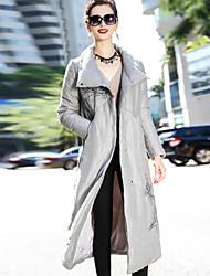 Dámské Dlouhé Dlouhý kabát Jednoduchý Čínské vzory Wear to work Běžné/Denní Jednobarevné Retro-Kabát Podšívka Dlouhý rukáv