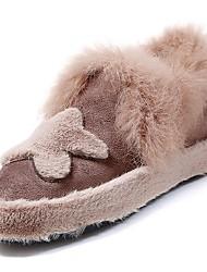 Femme Chaussures Gomme Hiver Confort Mocassins et Chaussons+D6148 Bout rond Pour Noir Marron