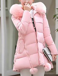 Dámské Standardní S vycpávkou Jednoduchý Běžné/Denní Jednobarevné-Kabát Dolů Dlouhý rukáv