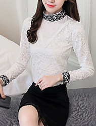 cheap -Women's Daily Going out Active Winter Fall Blouse,Solid Stand Long Sleeves Polyester Medium