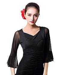 Ballroom Dance Tops Women's Performance Ice Silk 3/4 Length Sleeve Tops
