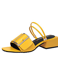 cheap -Women's Shoes PU Summer Comfort Light Soles Slippers & Flip-Flops Block Heel Open Toe Pearl For Casual Dress White Black Yellow