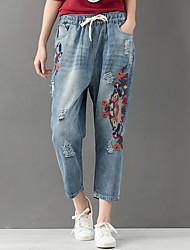 cheap -Women's High Rise Micro-elastic Jeans Pants,Casual Print Fall