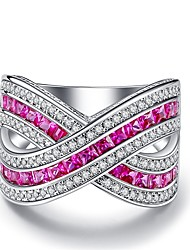 cheap -Women's Band Rings Cubic Zirconia Vintage Casual Fashion European Elegant Zircon Silver Plated Gold Plated Geometric Infinity Jewelry For