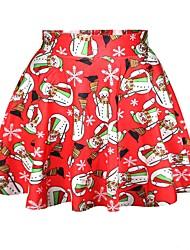 Ternos de Papai Noel Saia Feminino Natal Festival / Celebração Trajes da Noite das Bruxas Vermelho Estampado