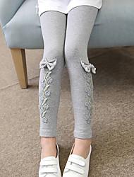 cheap -Girls' Solid Jacquard Cartoon Pants, Cotton Spring Fall Cute Casual Active Cartoon Blushing Pink Navy Blue Gray
