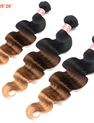 cheap -Brazilian Hair Ombre Hair Weaves 3 Bundles Human Hair Weaves Black / Medium Brown / Strawberry Blonde Women's