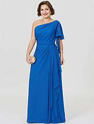Tubinho Assimétrico Longo Chiffon Vestido Para Mãe dos Noivos - Pregas de LAN TING BRIDE®