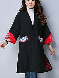 cheap -Women's Daily Vintage Winter Fall Trench Coat,Print Long Sleeves Long Linen