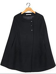 baratos -Mulheres Capa / Capes Simples / Casual - Sólido Fashion / Outono / Inverno