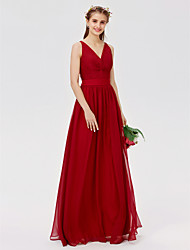 cheap -A-Line / Princess V Neck Floor Length Chiffon / Lace Bridesmaid Dress with Lace / Sash / Ribbon / Criss Cross by LAN TING BRIDE®