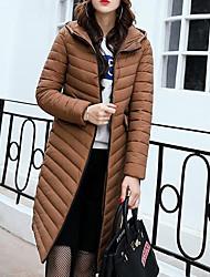 Lungo Piumino Da donna,Cappotto Moda città Per uscire Casual Tinta unita Cotone Cotone Manica lunga