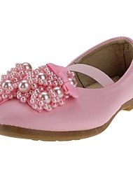 cheap -Girls' Shoes Leatherette Spring Comfort / Flower Girl Shoes Heels Bowknot / Imitation Pearl / Gore for White / Pink / Wedding