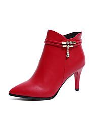 cheap -Women's Sandals Summer Peep Toe PU Casual Stiletto Heel Bowknot Black / Red
