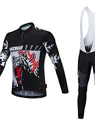 billiga Sport och friluftsliv-Malciklo Herr Långärmad Cykeltröja med Haklapp-tights - Vit Svart Cykel Klädesset, Håller värmen, Snabb tork, Anatomisk design,