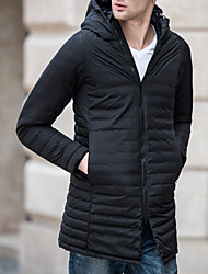 Men's Long Down Coat,Casual Daily To-Go Solid-Polyester Long Sleeves