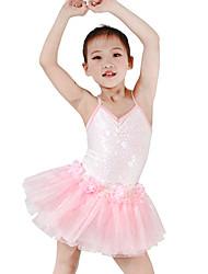 Kids' Dancewear Dresses Children's Performance Spandex Elastic Elastane Tulle Sequined Lycra Flower(s) Paillette Sleeveless Dropped