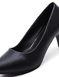 Недорогие -Для женщин Обувь Полиуретан Зима Удобная обувь Обувь на каблуках На шпильке Квадратный носок Назначение Повседневные Черный