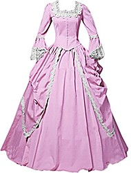 cheap -One-Piece/Dress Party Costume Masquerade Steampunk® Elegant Lace-up Victorian Cosplay Lolita Dress Pink Solid Color Vintage Long Sleeves