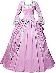 abordables -Rétro Victorien Rococo Costume Femme Adulte Robes Bal Masqué Costume de Soirée Rose Vintage Cosplay Tissu Matelassé Manches Longues