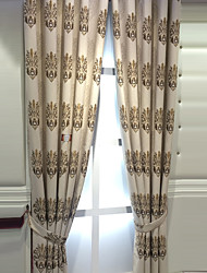 Pencil Pleat Double Pleat Grommet Top Curtain Contemporary Casual , Floral Geometric Bedroom Polyester Material Blackout Curtains Drapes