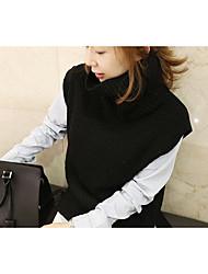Standard Pullover Da donna-Per uscire Casual Tinta unita Dolcevita Senza maniche Pelliccia di coniglio Inverno Autunno Spesso strenchy
