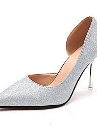 Damen Schuhe Stoff Sommer Leuchtende Sohlen Sandalen Stöckelabsatz Offene Spitze Perle Für Normal Gold Silber