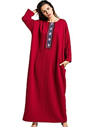 cheap -Women's Daily Swing Dress,Solid Round Neck Maxi Long Sleeve Linen All Season Mid Rise Inelastic Opaque