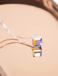 cheap -Women's Crystal Crystal Silver Choker Necklace Pendant Necklace - Elegant Sweet Square Silver Necklace For Daily Going out