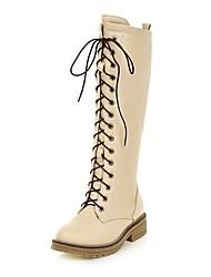 Femme Chaussures Similicuir Printemps Automne Confort Bottes Cavalières Bottes Bout rond Bottes Mi-mollet Pour Décontracté Noir Beige