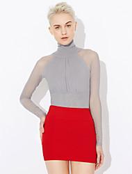 billige -Rund hals Ensfarvet / Patchwork Net Gade I-byen-tøj T-shirt / Forår / Efterår