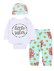 cheap -Baby Girls' Casual Casual/Daily Polka Dot Floral Clothing Set, Cotton Winter Spring/Fall Patterned Dot Long Sleeves White