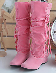 cheap -Women's Shoes Nubuck leather Winter Fall Comfort Fashion Boots Boots for Casual Black Beige Pink Dark Brown