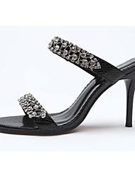 preiswerte -Damen Schuhe PU / Kunststoff Frühling / Sommer Komfort Sandalen Stöckelabsatz Strass / Kristall für Hochzeit / Party & Festivität Gold /