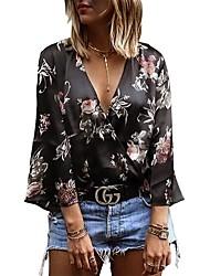 Недорогие -Жен. Рубашка, V-образный вырез Цветочный принт Хлопок Искусственный шёлк