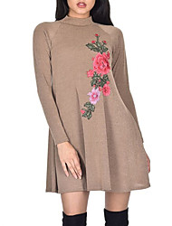 cheap -Women's Daily Going out Vintage Street chic Sheath T Shirt Dress,Embroidered Crew Neck Mini Long Sleeves Polyester Mid Rise Micro-elastic