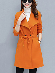 Women's Going out Casual/Daily Simple Fall Winter Coat,Solid Long Polyester