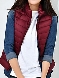 cheap -Women's Down Coat,Casual Daily To-Go Solid-Polyester Sleeveless