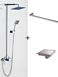 cheap -Contemporary Square Shaped Modern/Contemporary Shower System Rain Shower Handshower Included Wall Mount Ceramic Valve Two Holes Chrome,