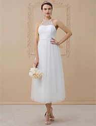 cheap -A-Line Princess Halter Tea Length Lace Over Tulle Custom Wedding Dresses with Beading Crystal Detailing by LAN TING BRIDE®