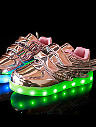cheap -Girls' Shoes Patent Leather Customized Materials All Season Fall Light Up Shoes Comfort Sneakers Magic Tape LED Lace-up For Casual Outdoor
