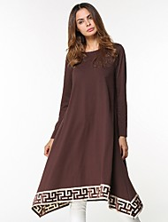 Women's Daily Tunic Dress,Solid Round Neck Midi Long Sleeve Polyester All Season Mid Rise Micro-elastic Opaque