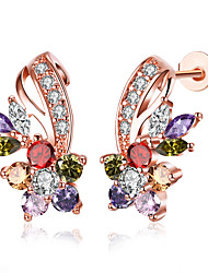 cheap -Women's Cubic Zirconia Stud Earrings - Cubic Zirconia, Rose Gold Plated Flower White / Rainbow For Party / Casual