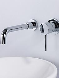 Недорогие -Современный Разбросанная Настенное крепление Высокое качество Керамический клапан Одной ручкой Два отверстия Хром, Ванная раковина кран