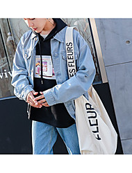 Men's Daily School Wear Street chic Winter Fall Denim Jackets,Solid Wing Collar Long Sleeves Regular Oxford Cloth
